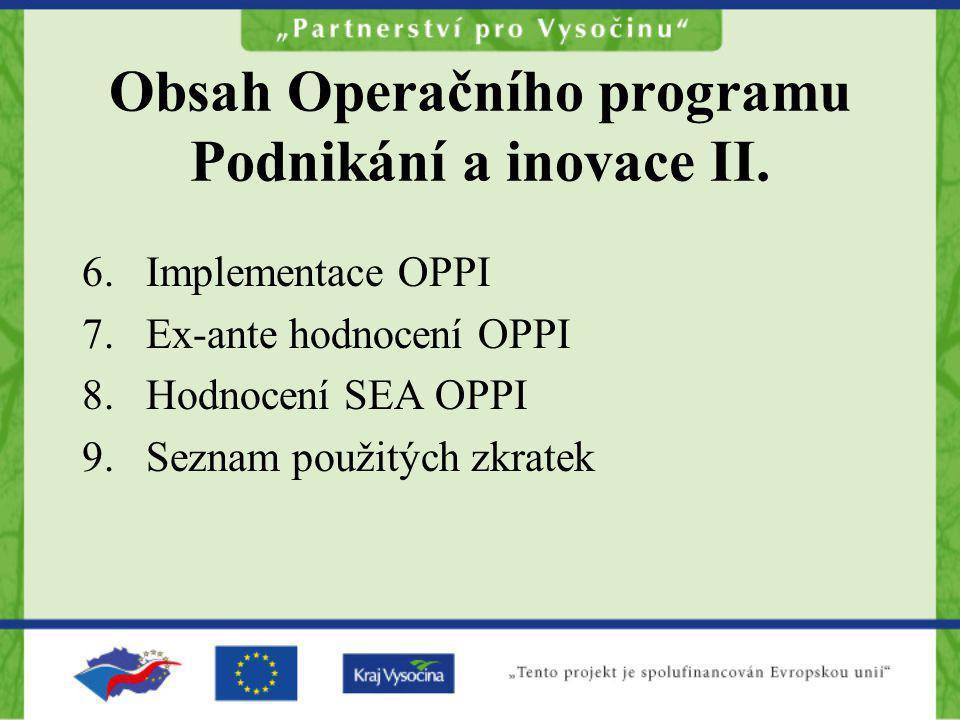 Obsah Operačního programu Podnikání a inovace II.