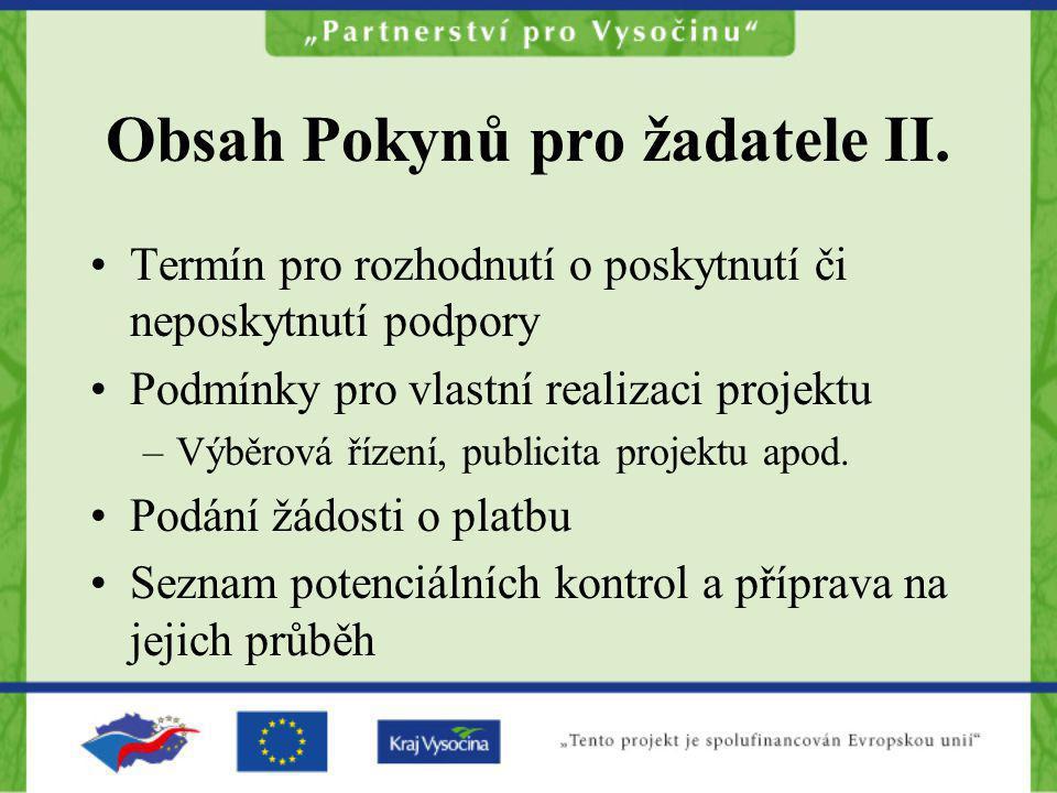 Obsah Pokynů pro žadatele II.