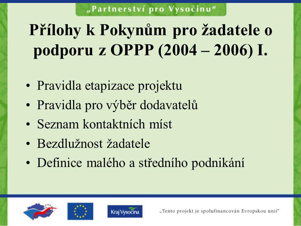 Přílohy k Pokynům pro žadatele o podporu z OPPP (2004 – 2006) I.