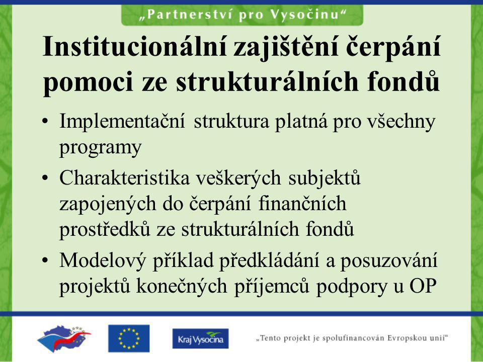 Institucionální zajištění čerpání pomoci ze strukturálních fondů