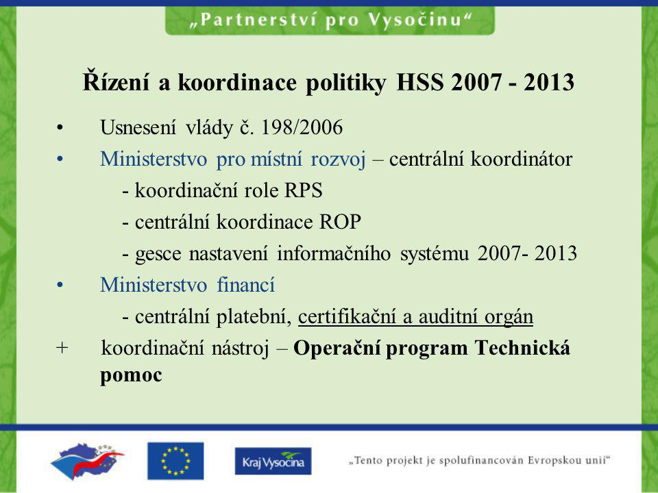 Řízení a koordinace politiky HSS 2007 - 2013