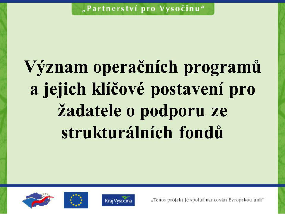 Význam operačních programů a jejich klíčové postavení pro žadatele o podporu ze strukturálních fondů