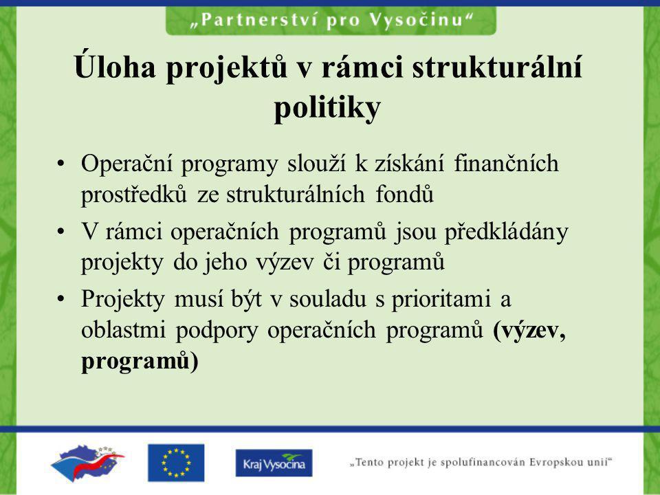 Úloha projektů v rámci strukturální politiky