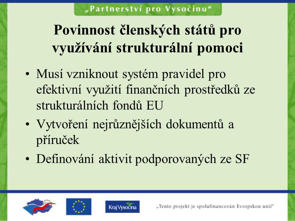 Povinnost členských států pro využívání strukturální pomoci