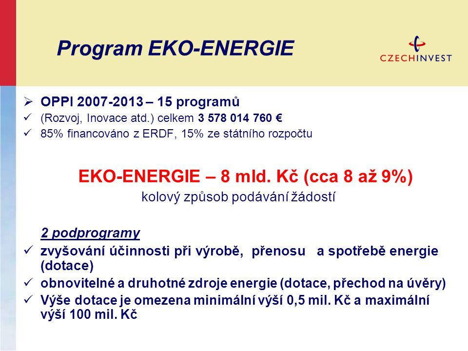EKO-ENERGIE – 8 mld. Kč (cca 8 až 9%)
