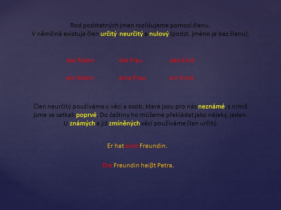 Rod podstatných jmen rozlišujeme pomocí členu.