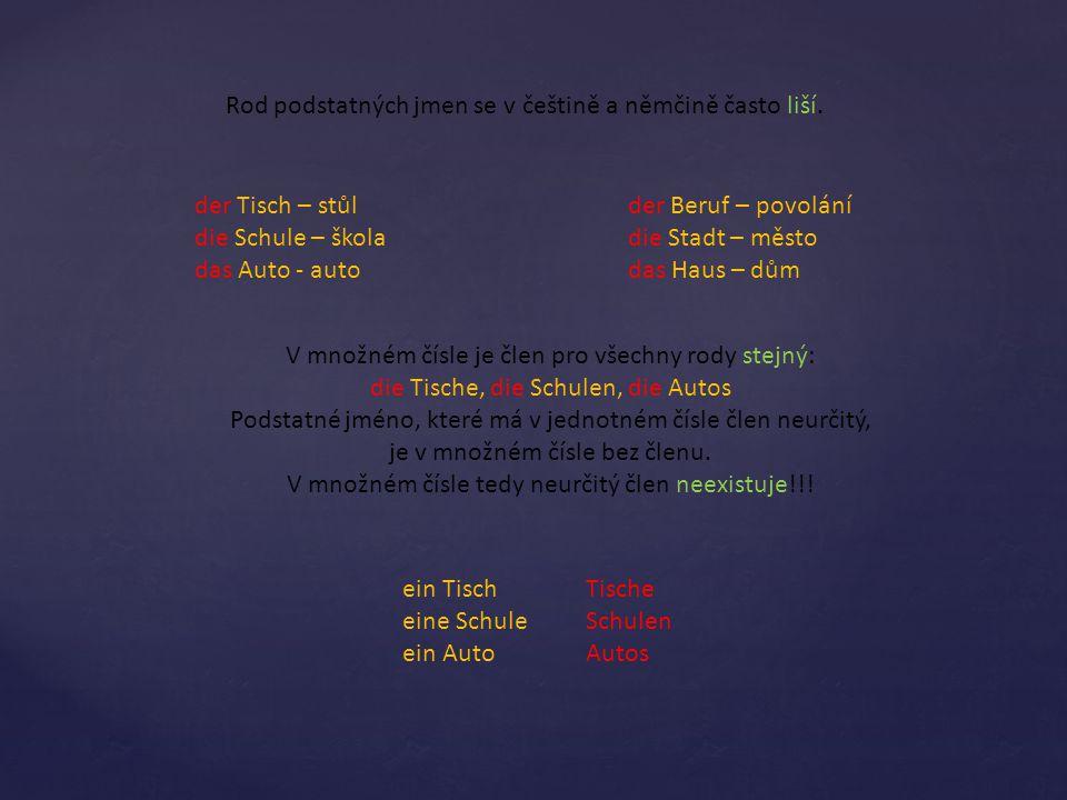 Rod podstatných jmen se v češtině a němčině často liší.
