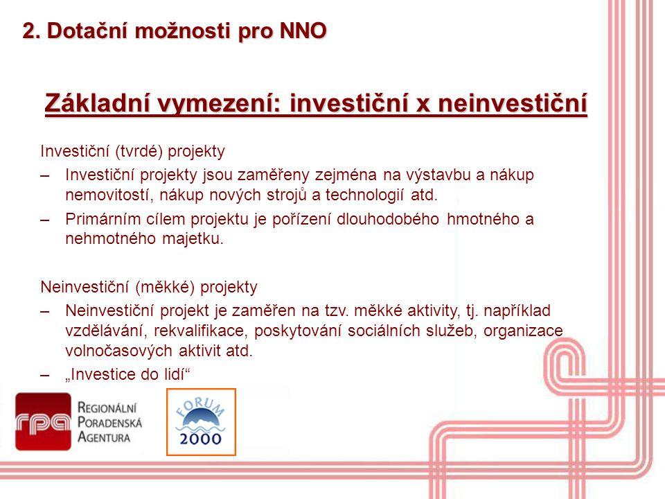 Základní vymezení: investiční x neinvestiční