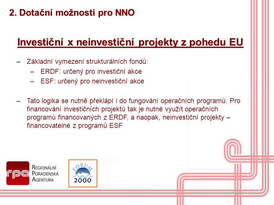 Investiční x neinvestiční projekty z pohedu EU