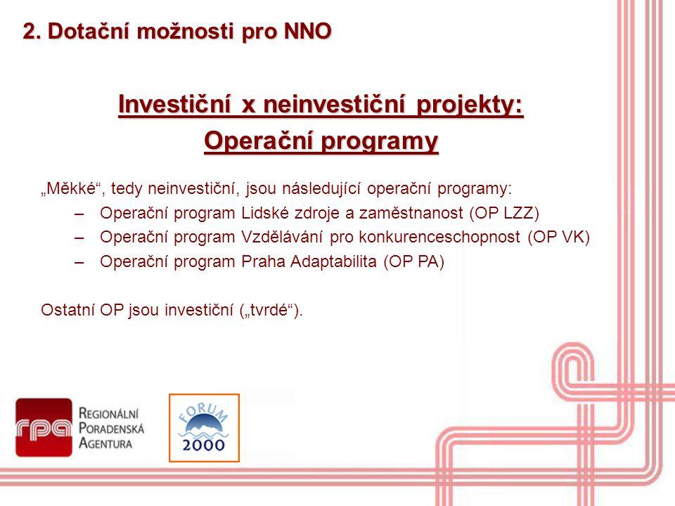 Investiční x neinvestiční projekty: