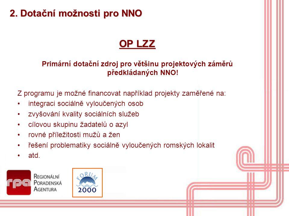 OP LZZ 2. Dotační možnosti pro NNO
