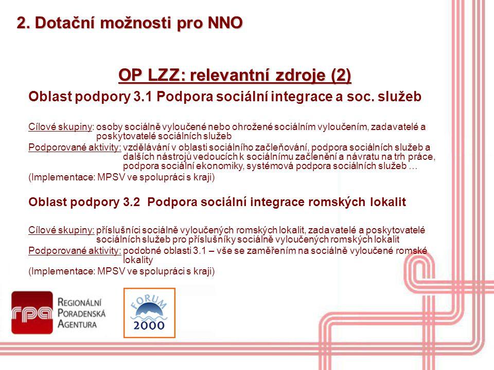 OP LZZ: relevantní zdroje (2)