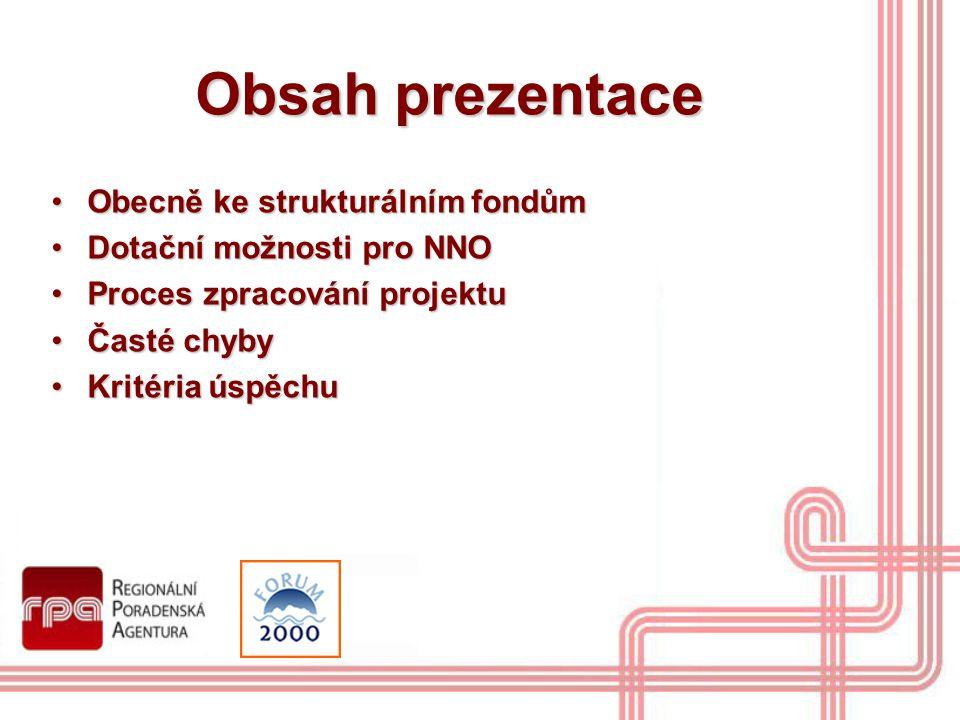 Obsah prezentace Obecně ke strukturálním fondům