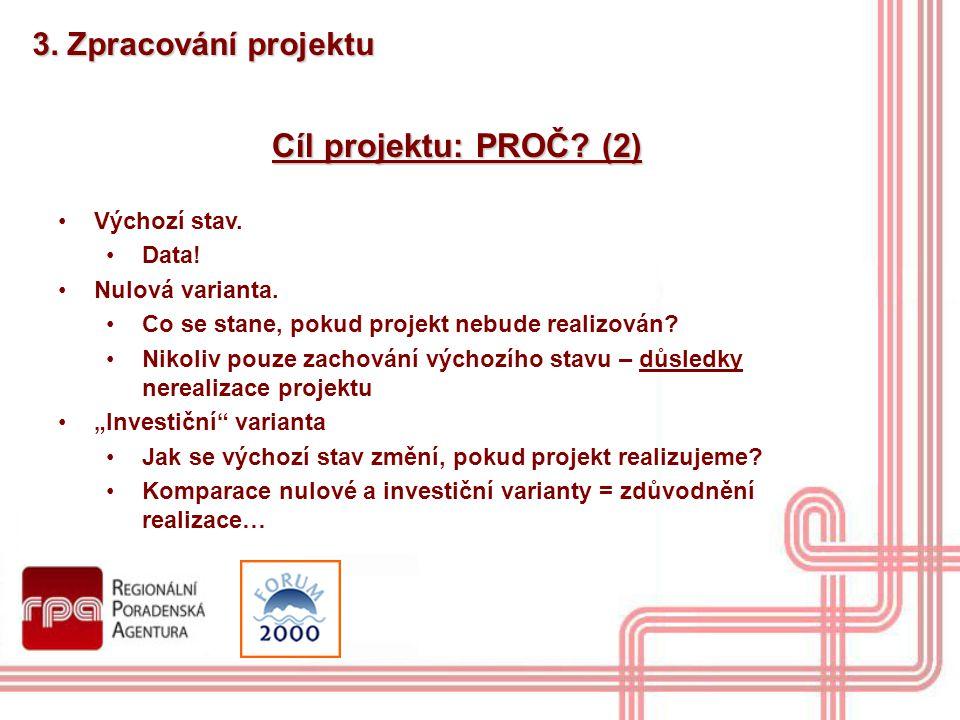 Cíl projektu: PROČ (2) 3. Zpracování projektu Výchozí stav. Data!