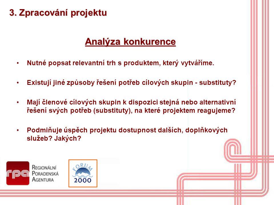 Analýza konkurence 3. Zpracování projektu