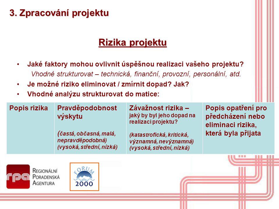 Rizika projektu 3. Zpracování projektu