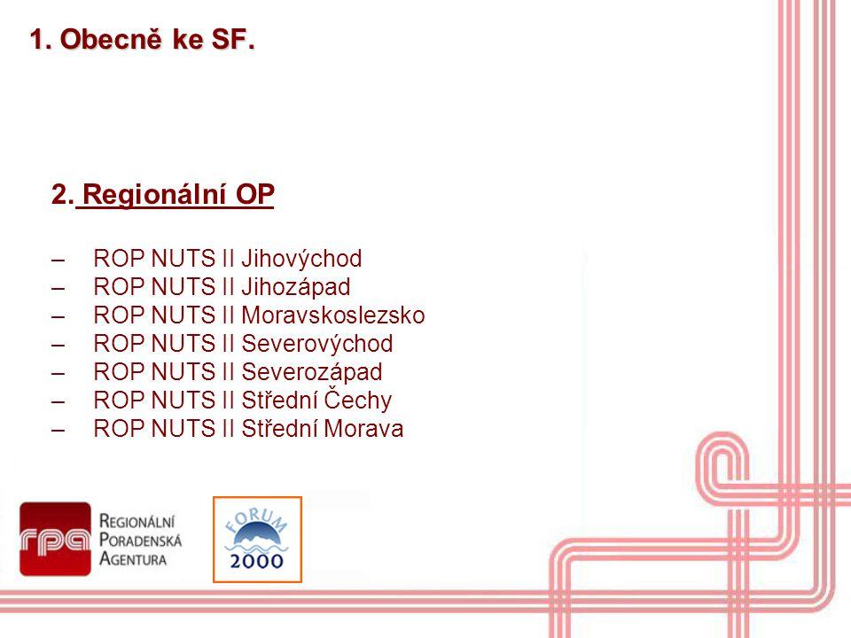 1. Obecně ke SF. 2. Regionální OP ROP NUTS II Jihovýchod