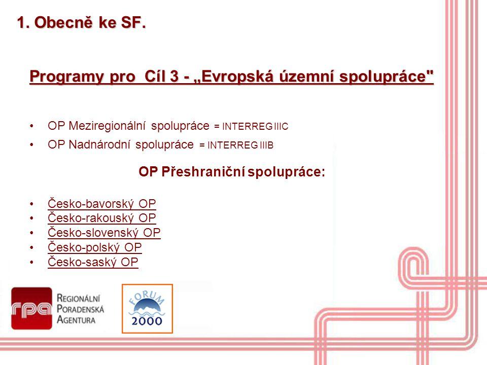 """Programy pro Cíl 3 - """"Evropská územní spolupráce"""