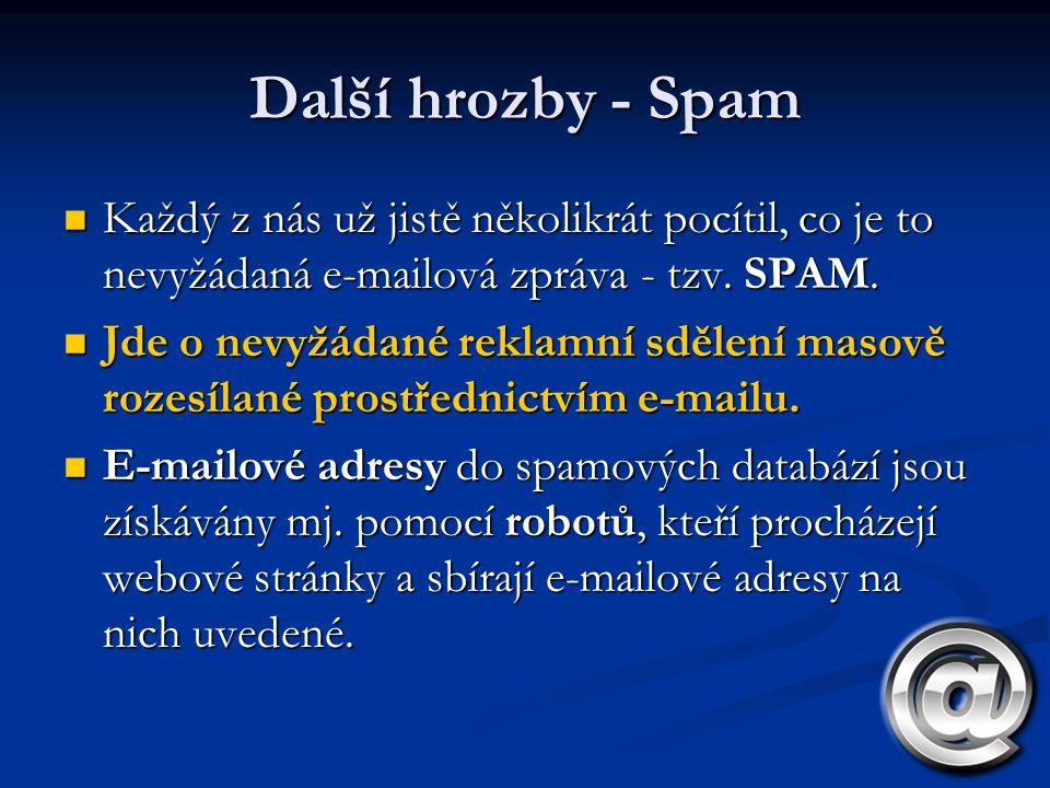 Další hrozby - Spam Každý z nás už jistě několikrát pocítil, co je to nevyžádaná e-mailová zpráva - tzv. SPAM.