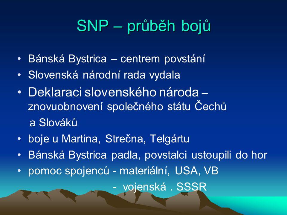 SNP – průběh bojů Bánská Bystrica – centrem povstání. Slovenská národní rada vydala.