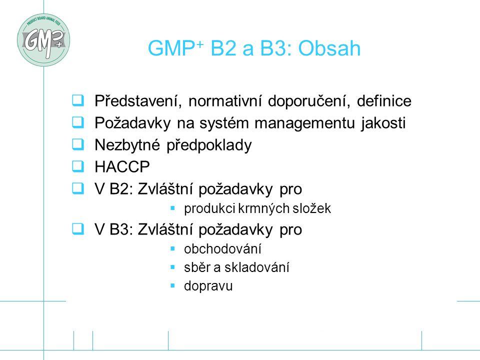 GMP+ B2 a B3: Obsah Představení, normativní doporučení, definice
