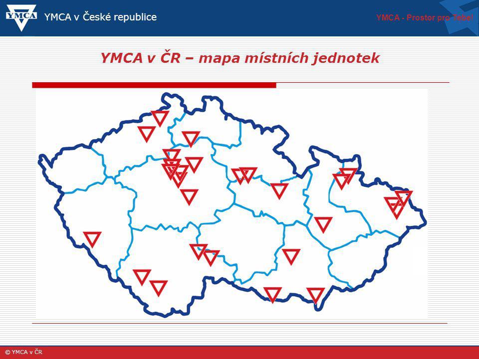 YMCA v ČR – mapa místních jednotek