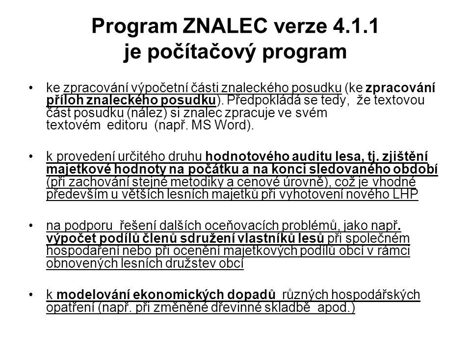 Program ZNALEC verze 4.1.1 je počítačový program