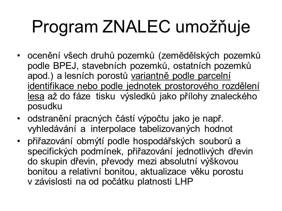Program ZNALEC umožňuje