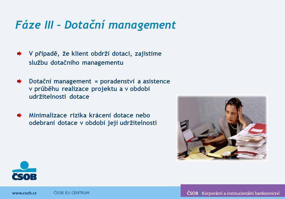 Fáze III – Dotační management