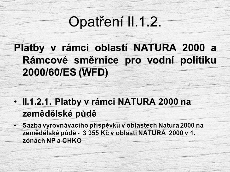 Opatření II.1.2. Platby v rámci oblastí NATURA 2000 a Rámcové směrnice pro vodní politiku 2000/60/ES (WFD)