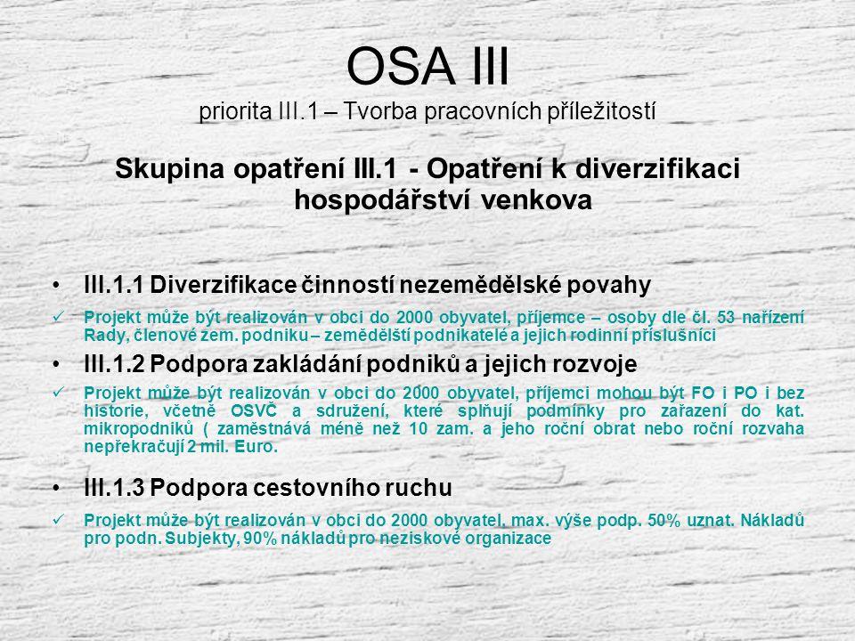 OSA III priorita III.1 – Tvorba pracovních příležitostí