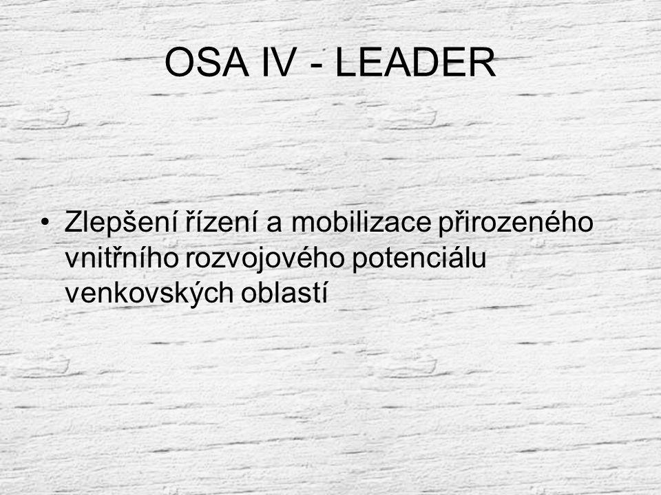 OSA IV - LEADER Zlepšení řízení a mobilizace přirozeného vnitřního rozvojového potenciálu venkovských oblastí.