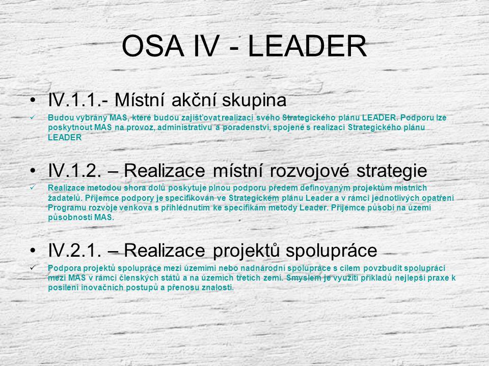 OSA IV - LEADER IV.1.1.- Místní akční skupina