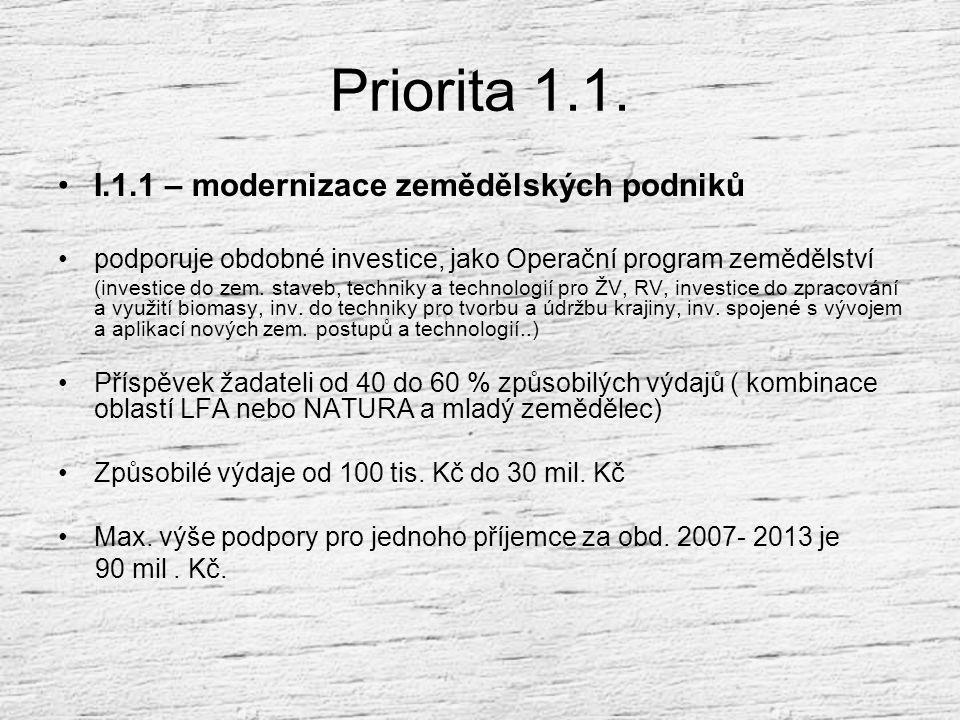 Priorita 1.1. I.1.1 – modernizace zemědělských podniků