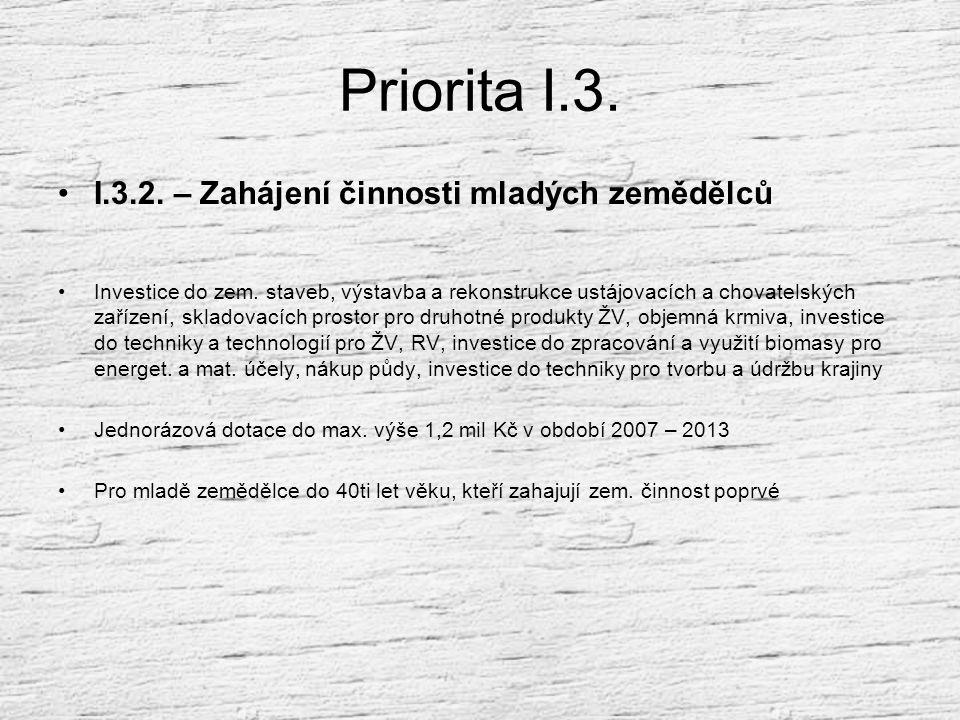 Priorita I.3. I.3.2. – Zahájení činnosti mladých zemědělců