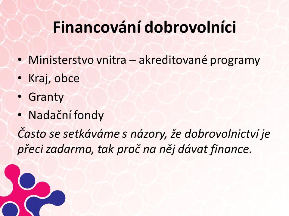 Financování dobrovolníci