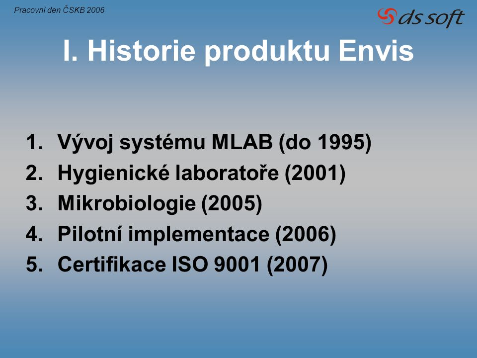 I. Historie produktu Envis