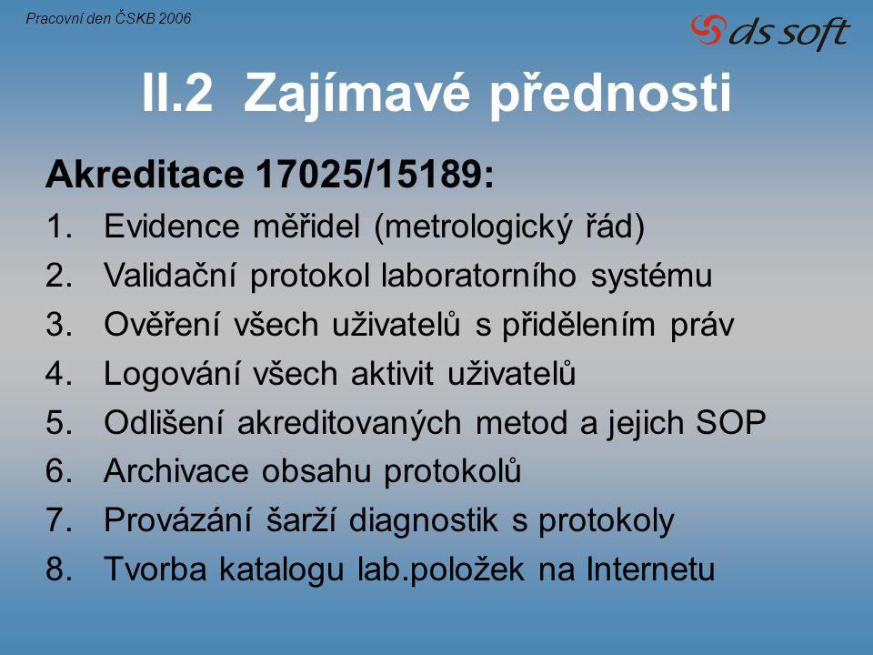 II.2 Zajímavé přednosti Akreditace 17025/15189: