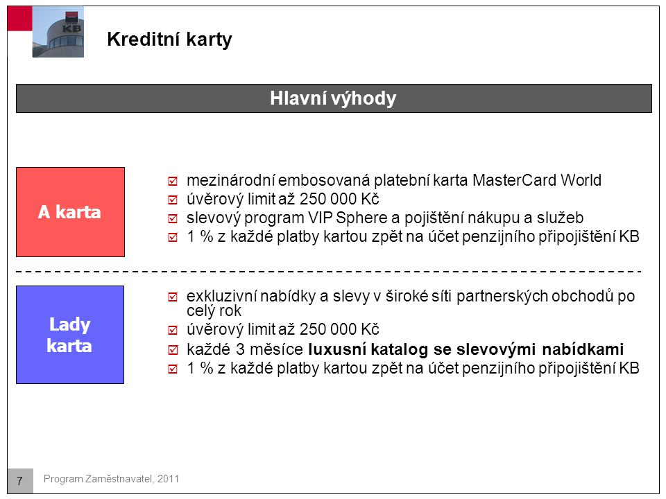 Kreditní karty Hlavní výhody A karta Lady karta