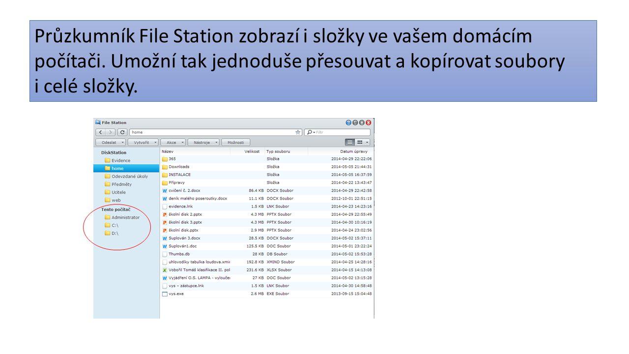 Průzkumník File Station zobrazí i složky ve vašem domácím počítači