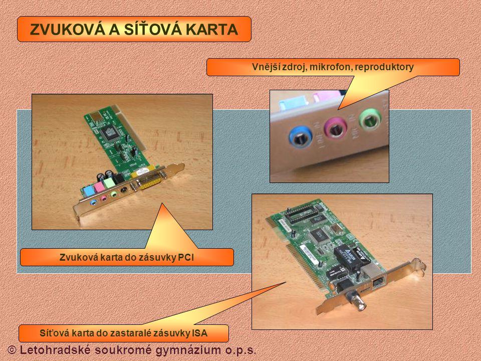 ZVUKOVÁ A SÍŤOVÁ KARTA Vnější zdroj, mikrofon, reproduktory