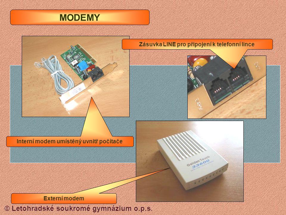 MODEMY Zásuvka LINE pro připojení k telefonní lince