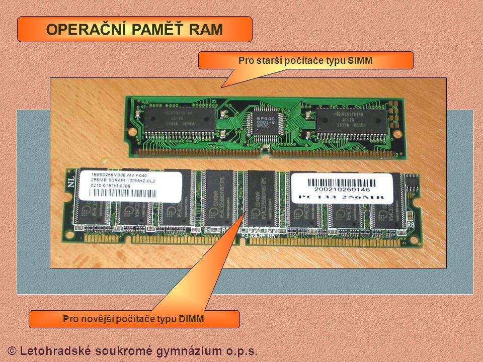 Pro starší počítače typu SIMM Pro novější počítače typu DIMM