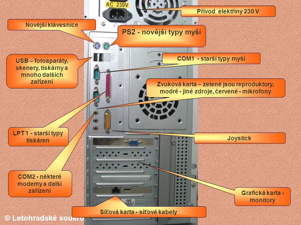 PS2 - novější typy myší Přívod elektřiny 230 V Novější klávesnice