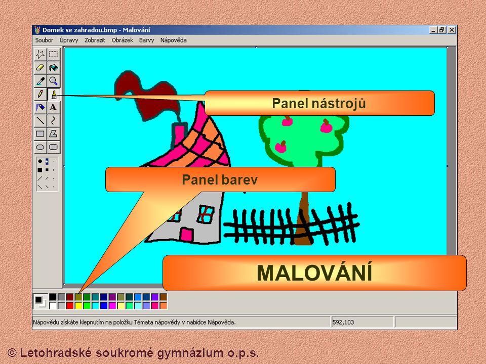 Panel nástrojů Panel barev MALOVÁNÍ