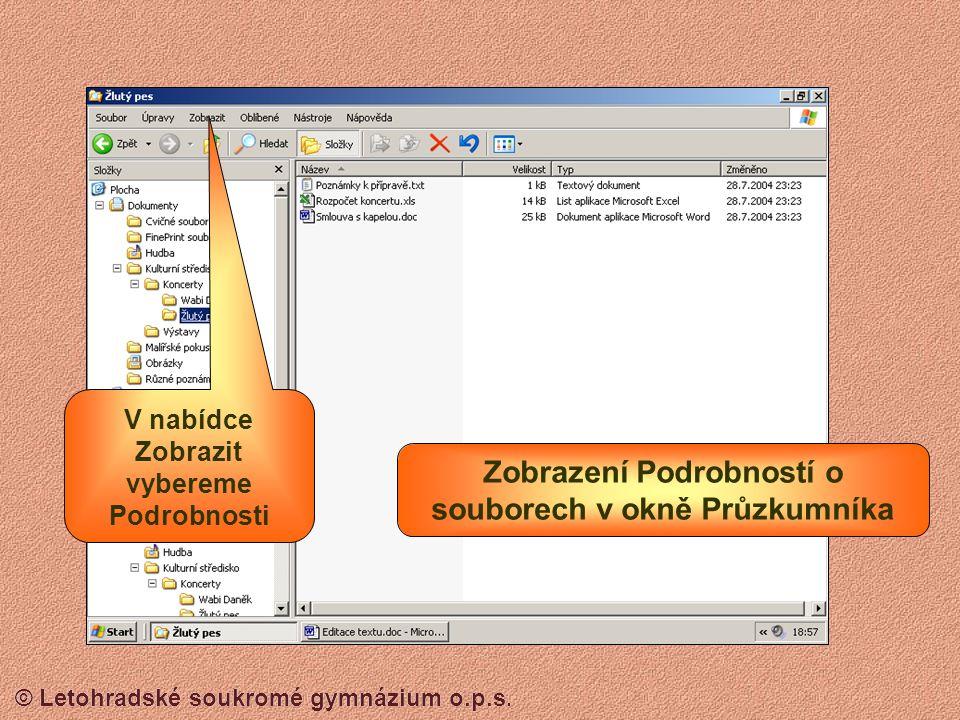 Zobrazení Podrobností o souborech v okně Průzkumníka