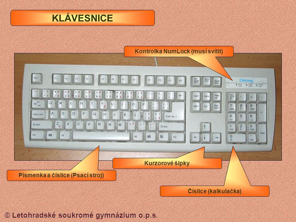 Kontrolka NumLock (musí svítit) Písmenka a číslice (Psací stroj)