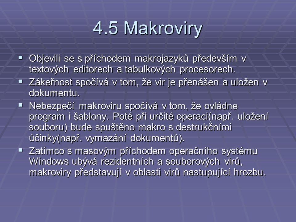 4.5 Makroviry Objevili se s příchodem makrojazyků především v textových editorech a tabulkových procesorech.