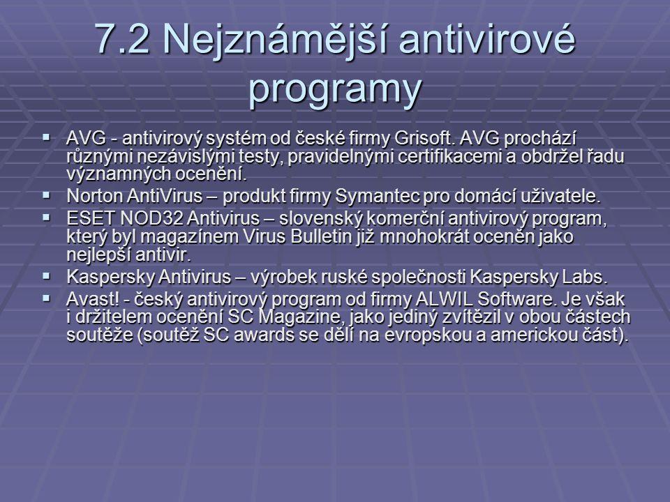 7.2 Nejznámější antivirové programy