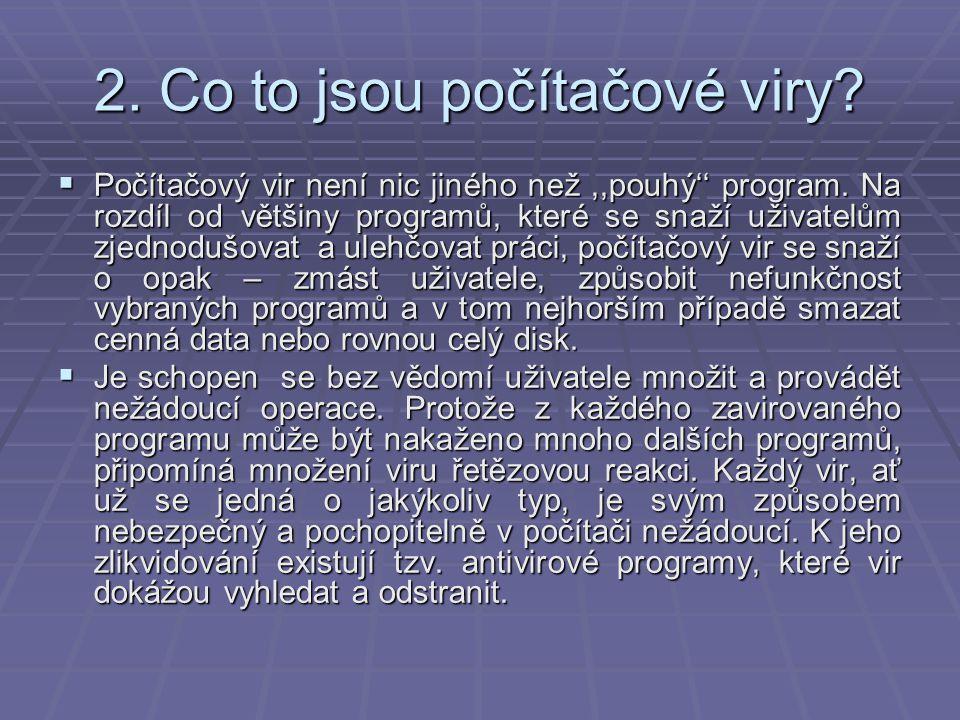 2. Co to jsou počítačové viry